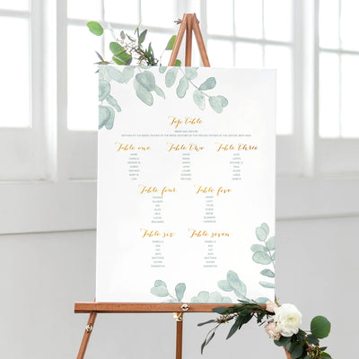 eucalyptus seating plan wedding plan
