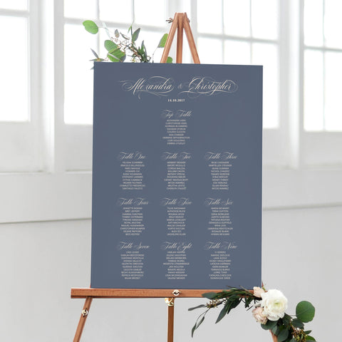 calligraphy seating plan for weddings