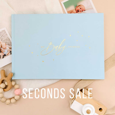 SECONDS SALE - Baby Journal - Light Blue and Gold Foil Luxury Baby Memory Book