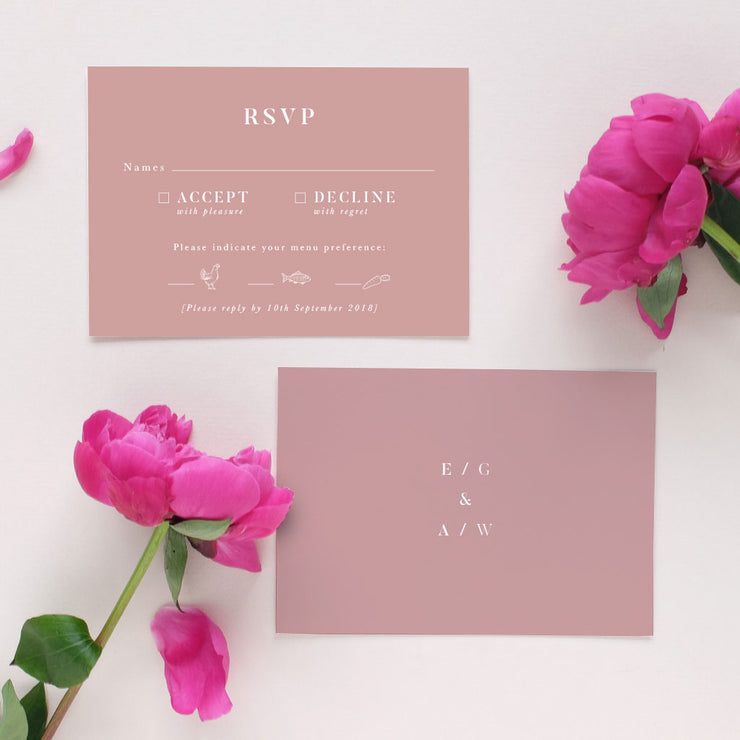 mauve wedding invite