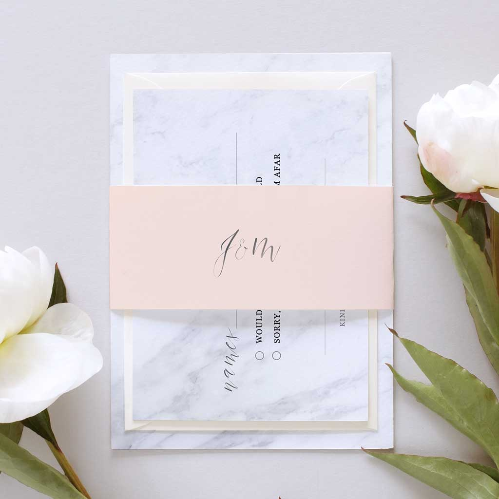 Marble and Blush Bellyband Wedding Invitation Package – Blush and Gold