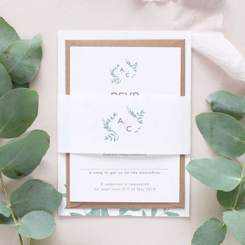 simple leafy wedding invitation package