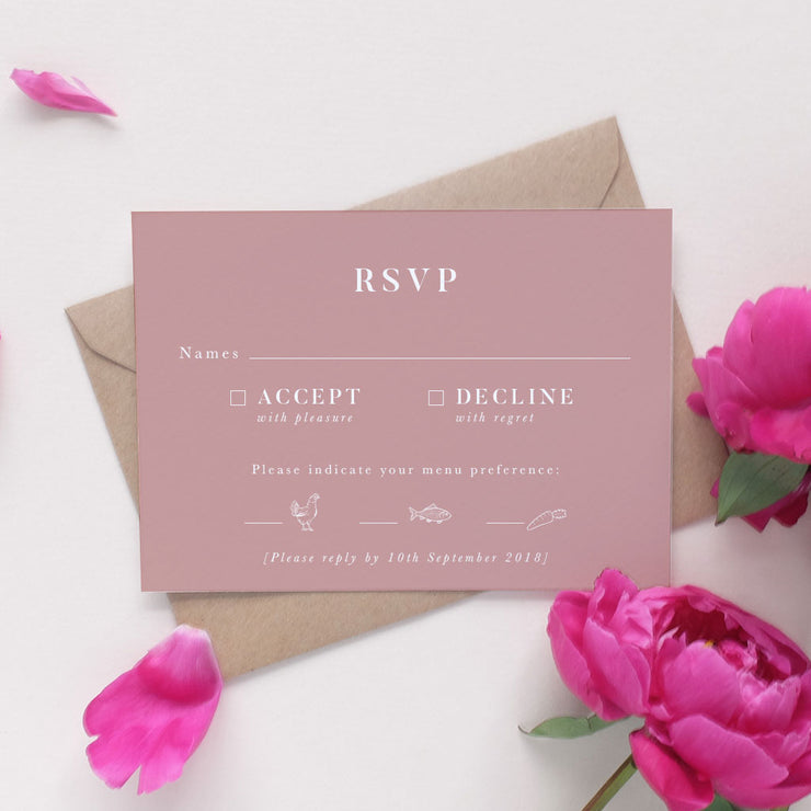 dusky pink rsvp card for weddings