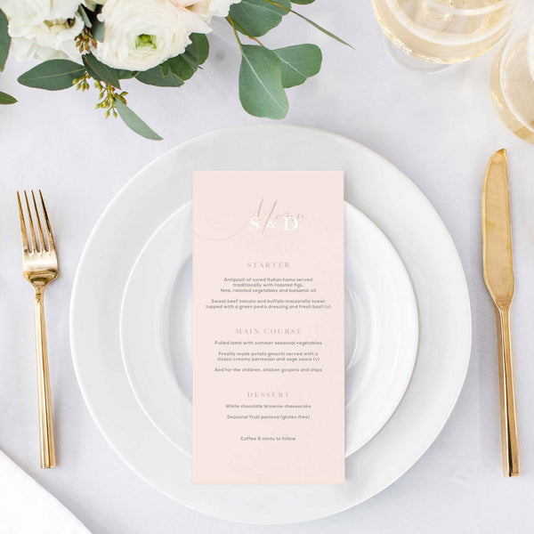 simple wedding menu