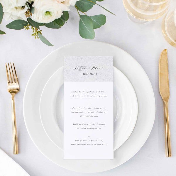 wedding menu grey