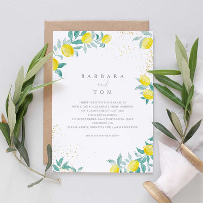 Amalfi coast wedding invitations