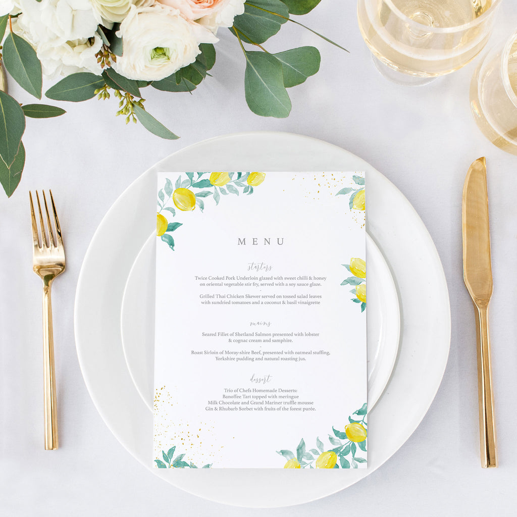 Sorrento wedding menu