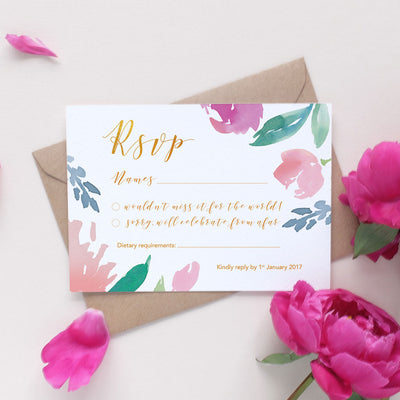 garden wedding RSVP card