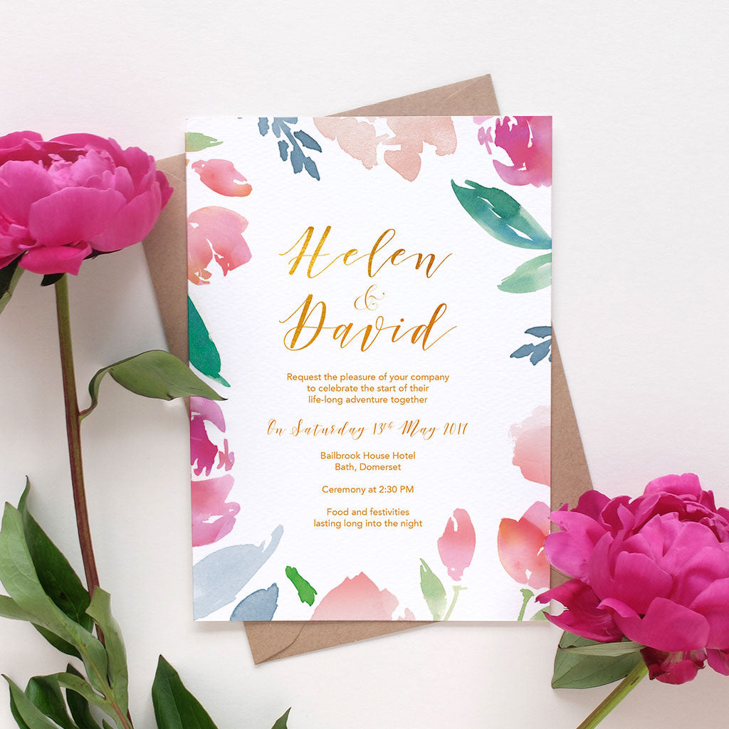 Watercolour Flowers Bellyband Wedding Invitation Package – Blush and ...