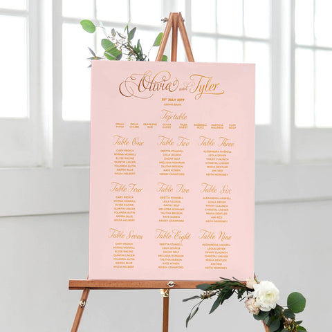 blush and gold table plan