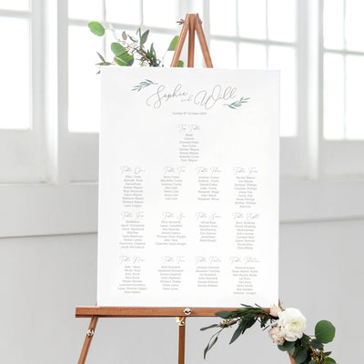 elegant table plan seating chart for wedding
