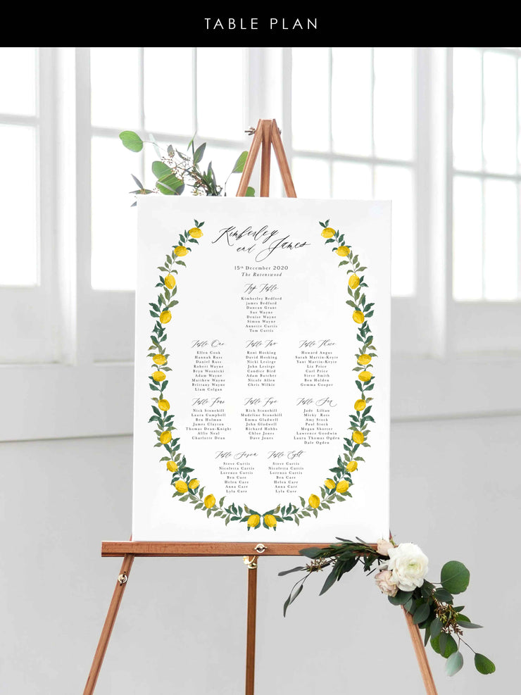 'Amalfi' Table Plan