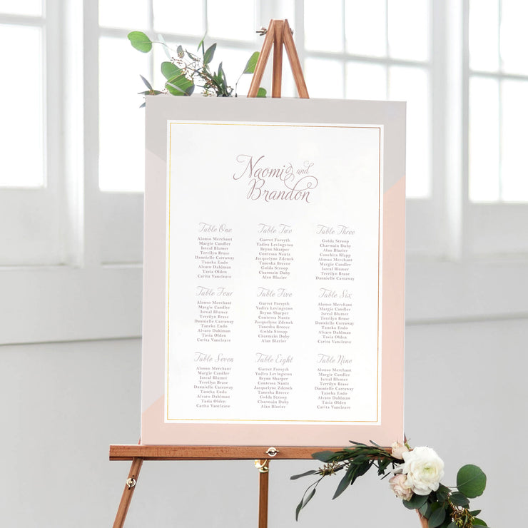 blush and pink table plan