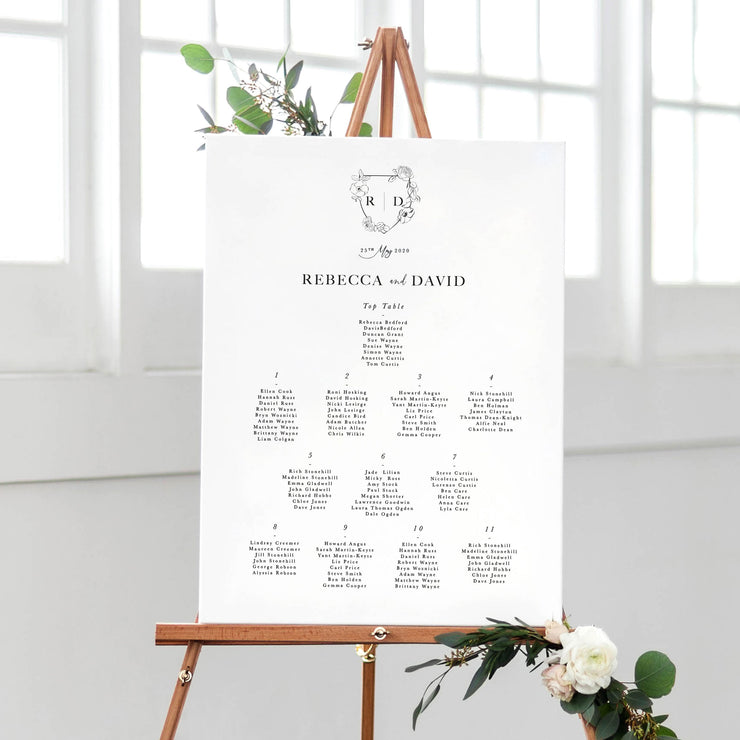 monogram wedding table plan