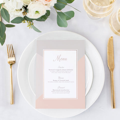 grey and pink menu card