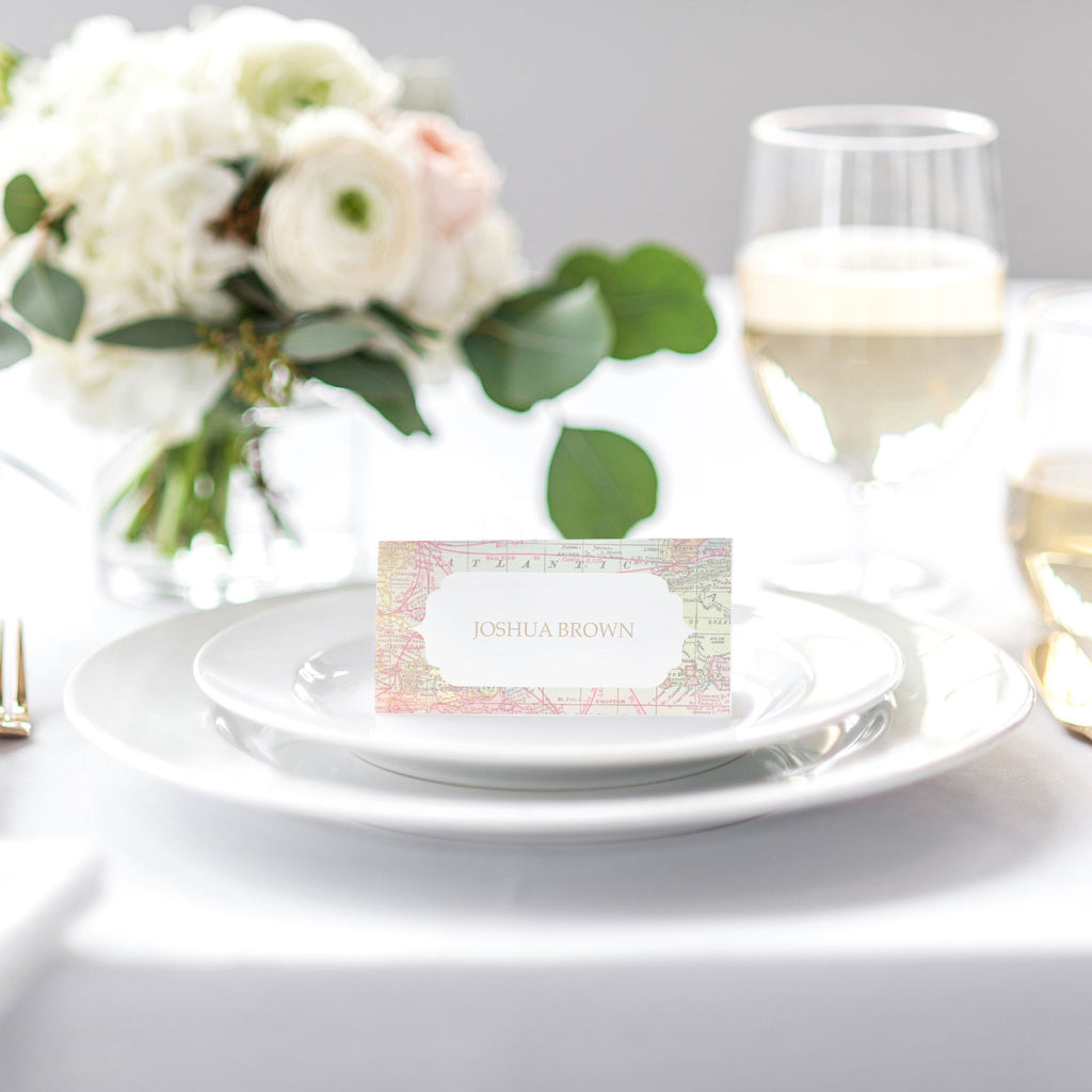 Travel theme wedding place cards – Blush and Gold