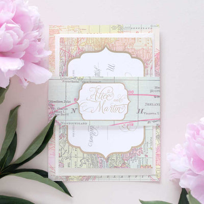 travel inspired wedding invitation