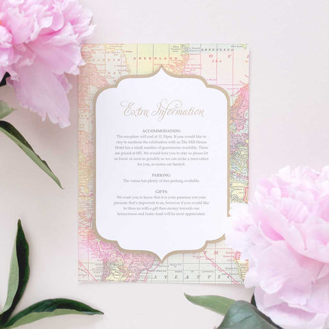vintage rustic information card for weddings