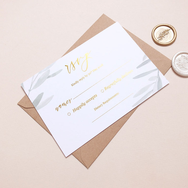 Olive RSVP Cards - The Luxe Collection *Foil*