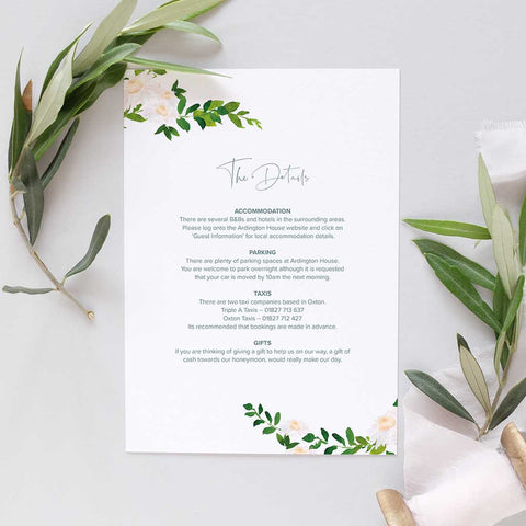 Information card for weddings