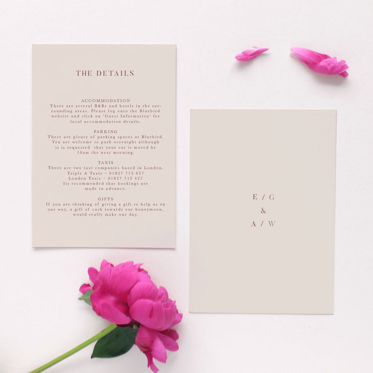 light pink information card