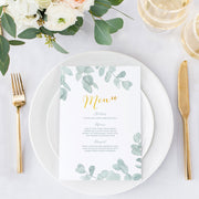 eucalyptus menu card for wedding