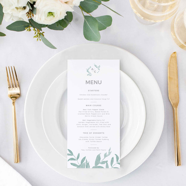 simple and elegant wedding menu