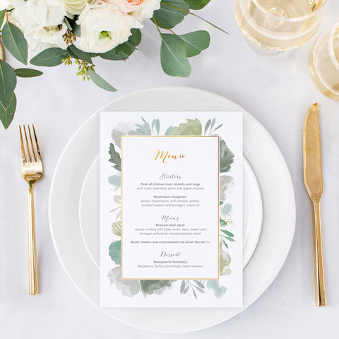 foliage leafy wedding menu card decor