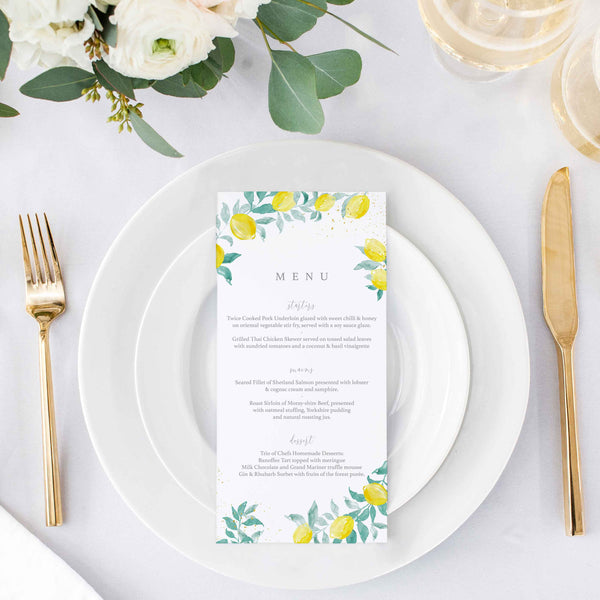 citrus lemons wedding menu