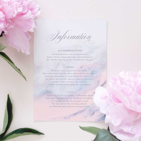 marble wedding information card