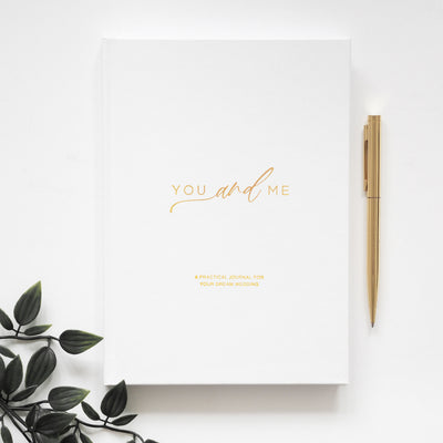 You and Me - Gender Neutral Wedding Planner - White Gold Foil