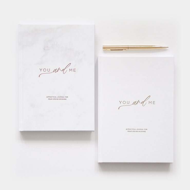You and Me - Gender Neutral Wedding Planner - Marble Rose Gold Foil