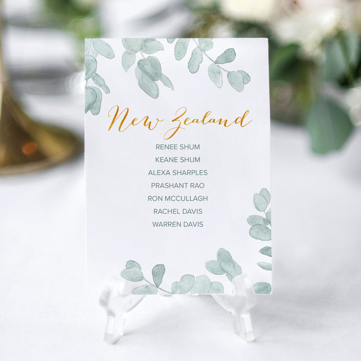 'Eucalyptus' Seating Chart Cards