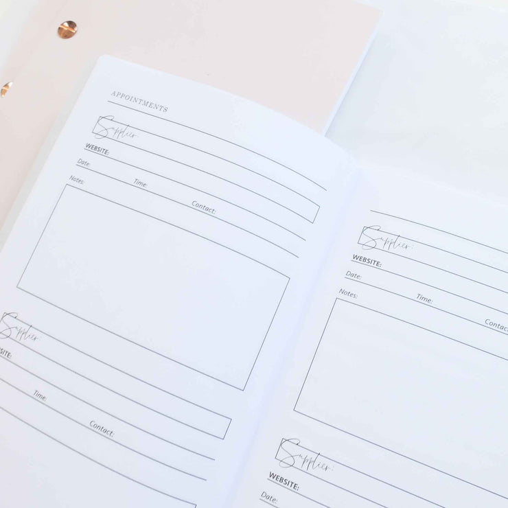 Luxury wedding notebook - White With Rose Gold Foil