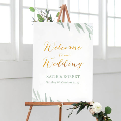 welcome sign for wedding olive leaves