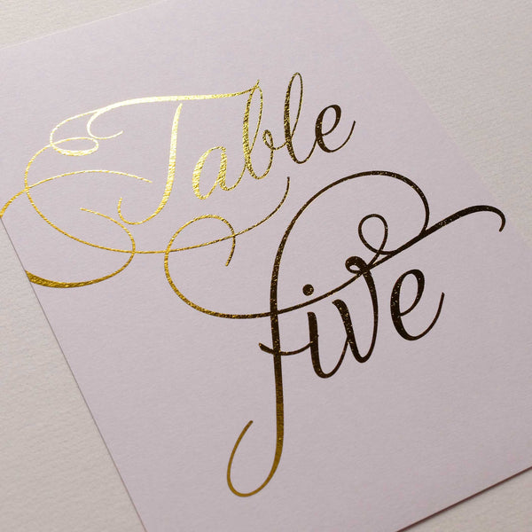 Blush and Gold Table Numbers - The Luxe Collection Foil