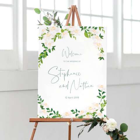 welcome sign wedding floral