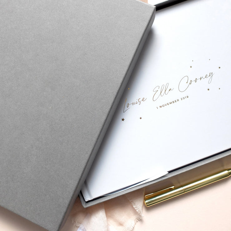Personalised - White and Gold Foil Luxury Baby Memory Book with Stars*