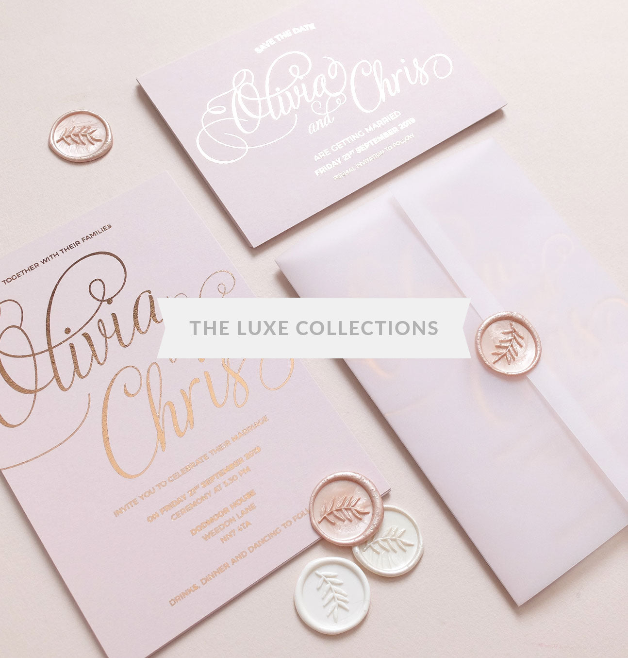 Blush and gold boutique wedding invitations gold foil wedding invitations junglespirit Choice Image