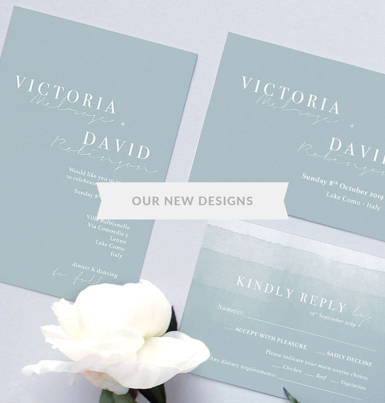 dusty blue wedding invitation design