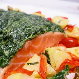 Norwegian Salmon Fillet With Creamed Spinach, Potato and Escabeche, White Onion Sauce,