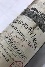 Load image into Gallery viewer, 1943 Chateau Grand Puy Lacoste, France, 750 ml (Ullage: Low)