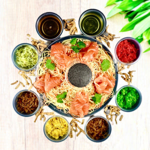 "Atas Yu Sheng "" 鱼生"" Angel Hair Pasta, Smoked Salmon, Avruga Caviar with Plum Citrus Dressing"