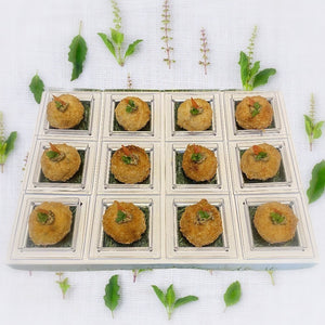 Canapé - Potato Cake with with Crab Meat Pommery Mustard (serve chilled or warm)