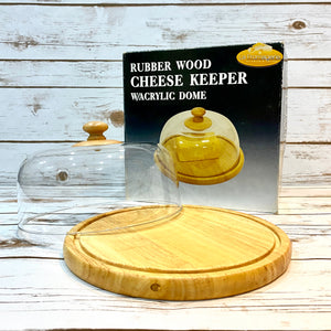 Rubberwood Wooden Round Cheese Dome