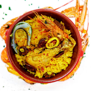Paella Spanish Rice Specialty Chicken, Chorizo, Seafood and saffron Rice - Ideal for 2 to 3 persons