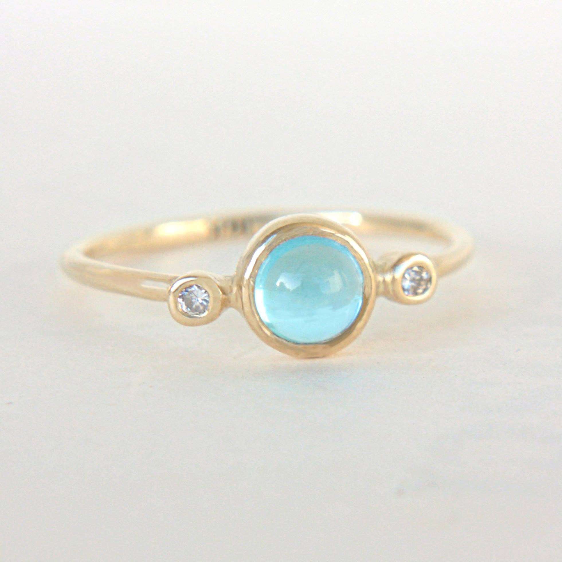 Blue Topaz and Diamond Ring 14k Yellow Gold - Manari Design