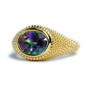 Nubia Oval Mystic Topaz Yellow Gold Ring Size 7US - Manari Design
