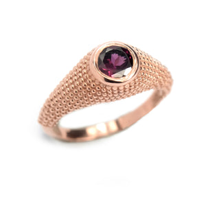 Nubia Round Rhodolite Rose Gold Ring Size 7.25US - Manari Design