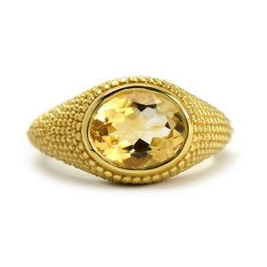 Nubia Oval Citrine Yellow Gold Ring Size 7US - Manari Design